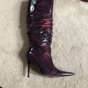 Steve Madden knee high patent and suede boots